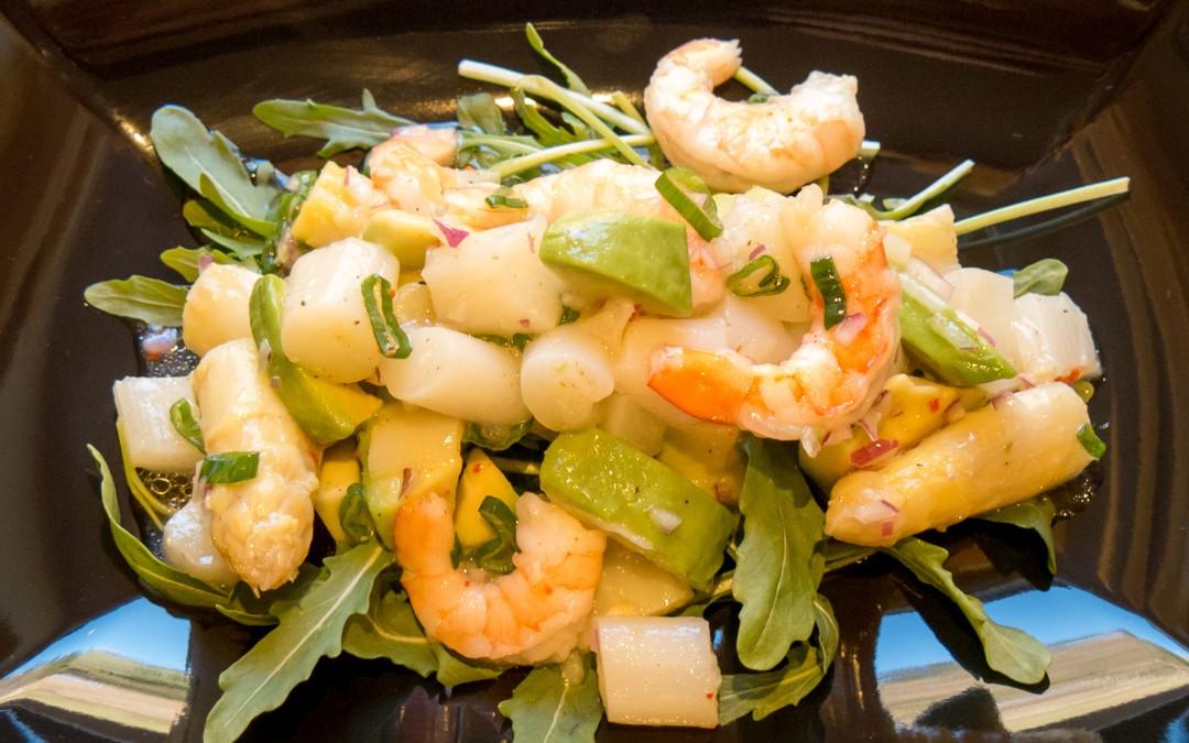 Spargelsalat  mit Avocado und Garnelen