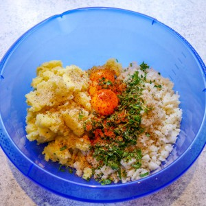Kartoffel, Blumenkohl, Eigelb, Blattpetersilie, Gewürze