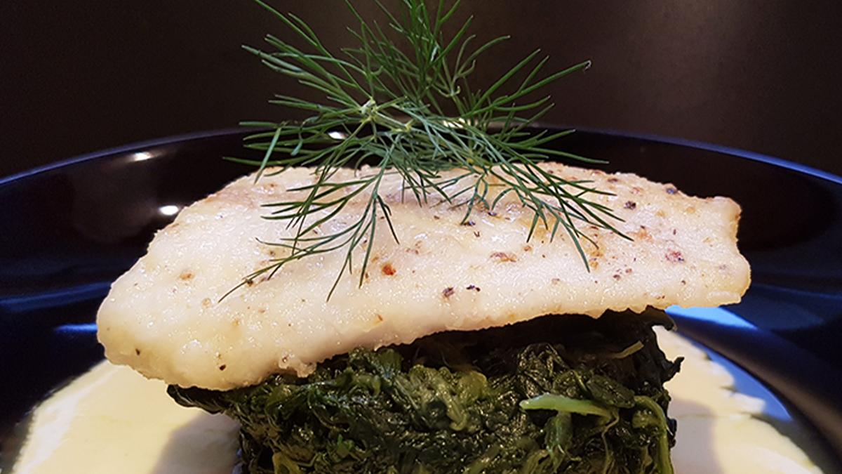 Rezept Kabeljau auf Senfsauce mit Spinat und NUdeln
