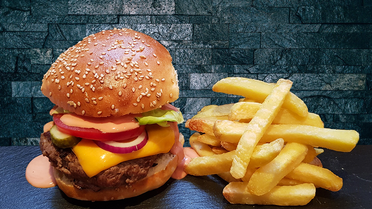 Rezept Burger mit Pommes frites