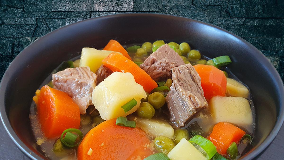 Rezept Eintopf vom Rind mit Kartoffeln, Karotten und Erbsen